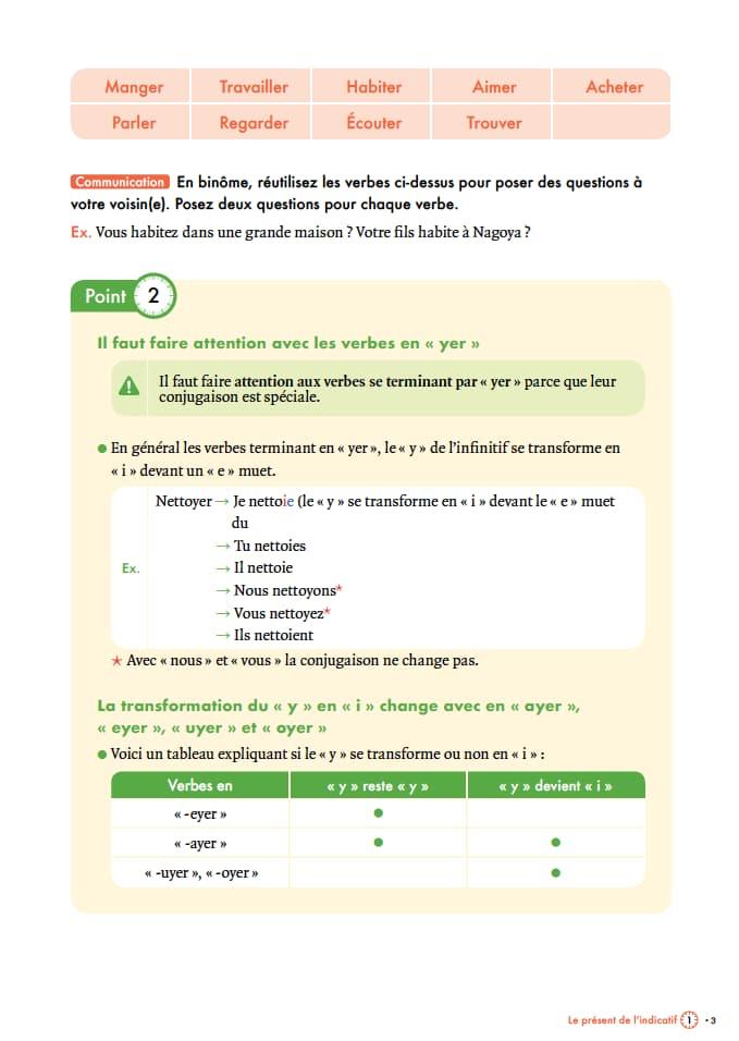 エコールサンパのフランス語教材「時制の基礎を固める」の3ページ目