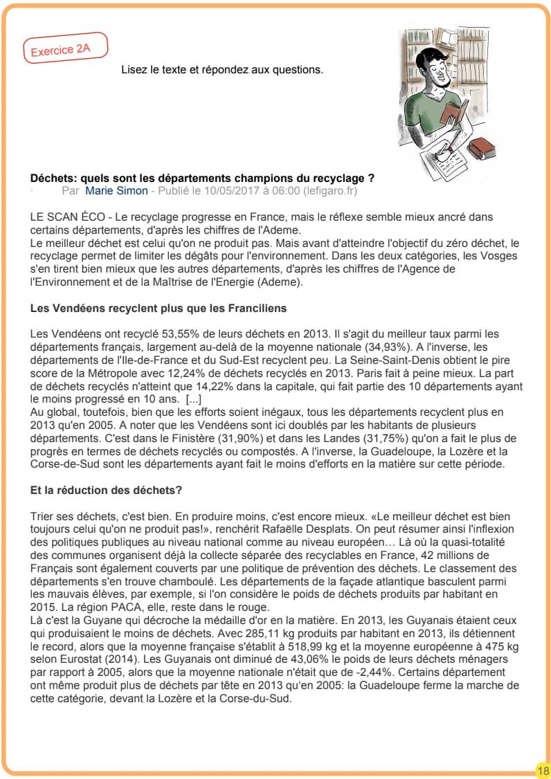 エコールサンパのフランス語教材「DELF B1対策講座」の18ページ目