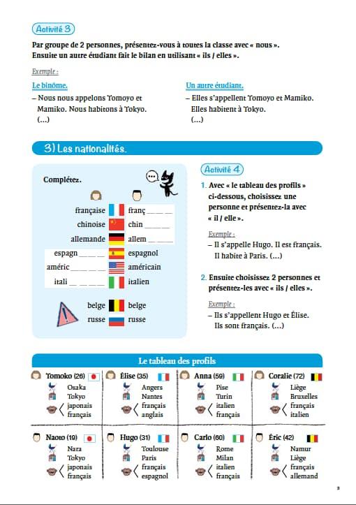 エコールサンパのフランス語教材「フランス語入門総復習」の3ページ目