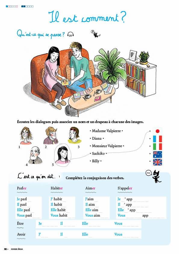 エコールサンパのフランス語教材「C'est sympa livret 1」の32ページ目