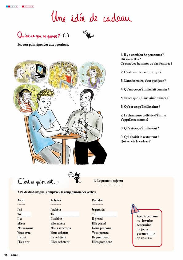 エコールサンパのフランス語教材「C'est sympa livret 2」の12ページ目