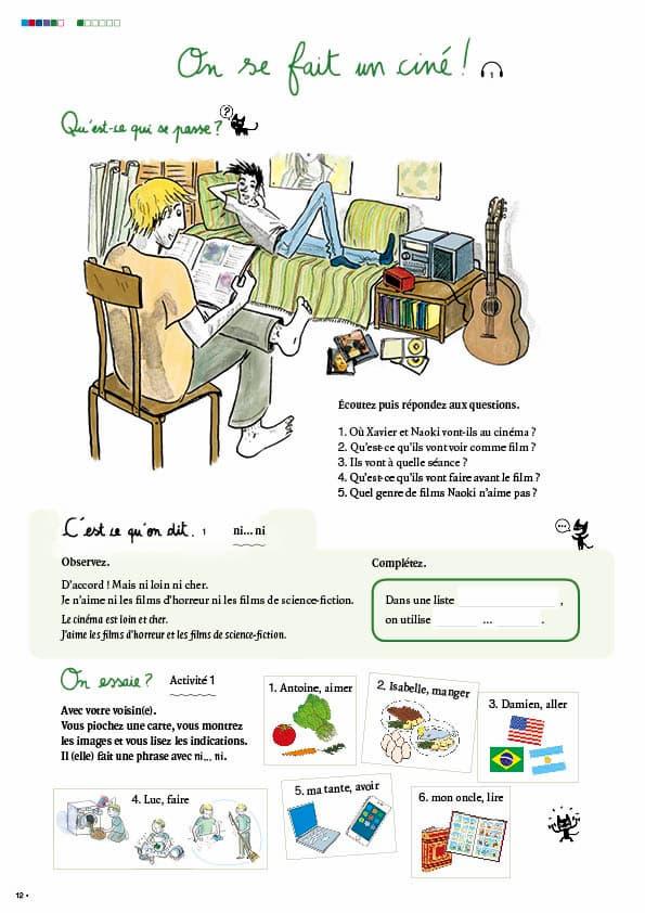 エコールサンパのフランス語教材「C'est sympa livret 5」の12ページ目
