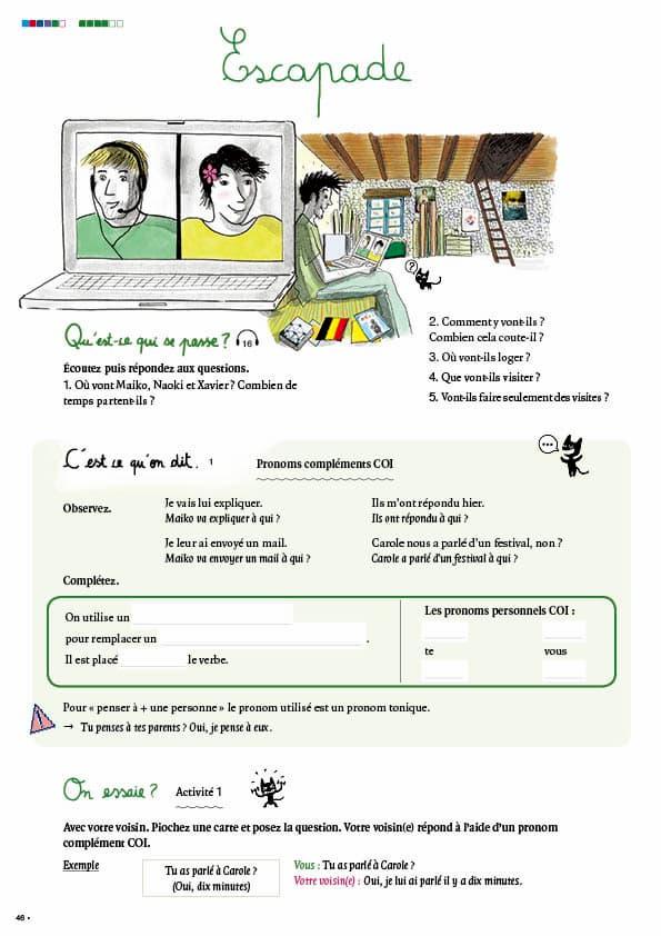 エコールサンパのフランス語教材「C'est sympa livret 5」の46ページ目