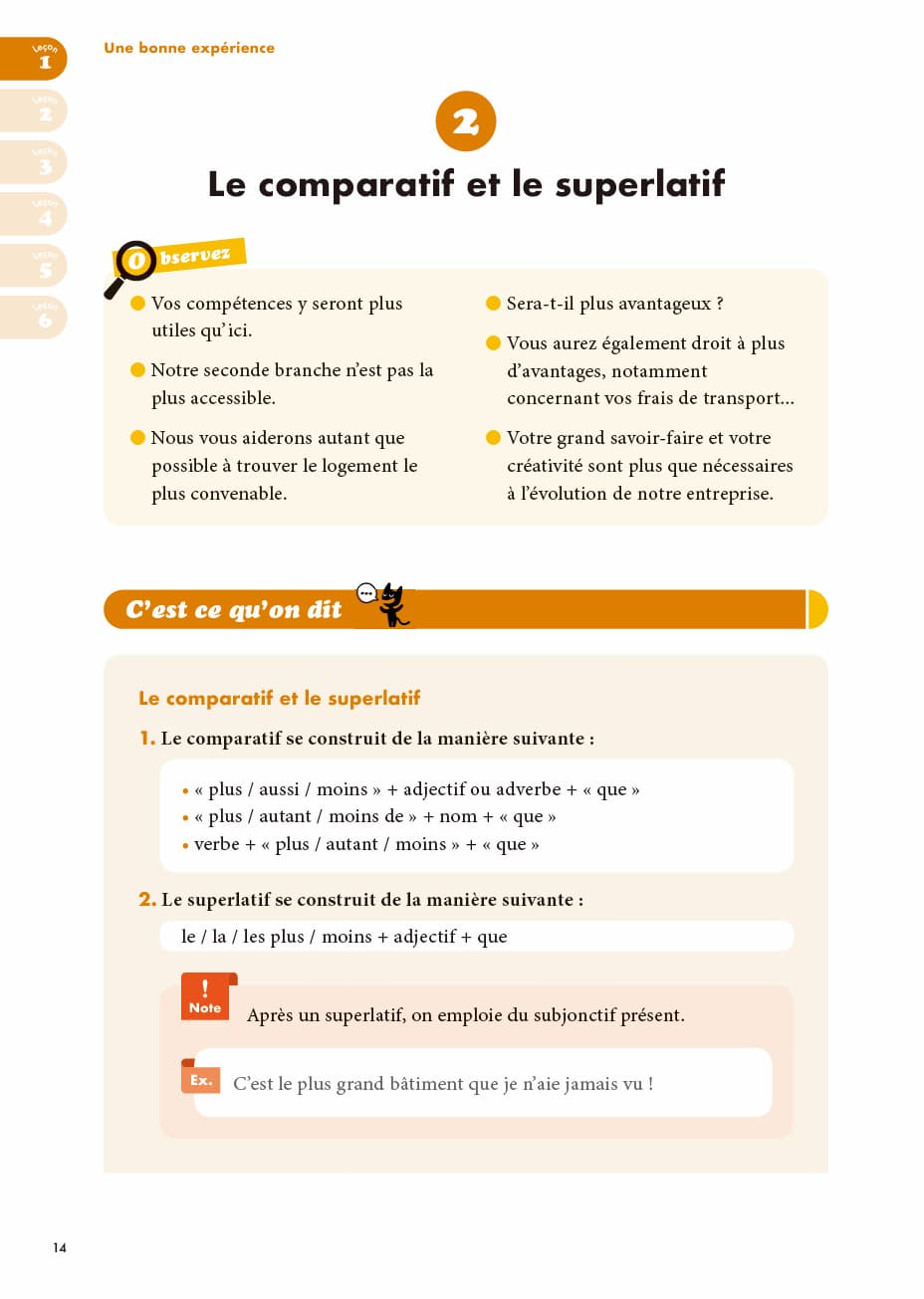 エコールサンパのフランス語教材「C'est sympa livret 9」の14ページ目