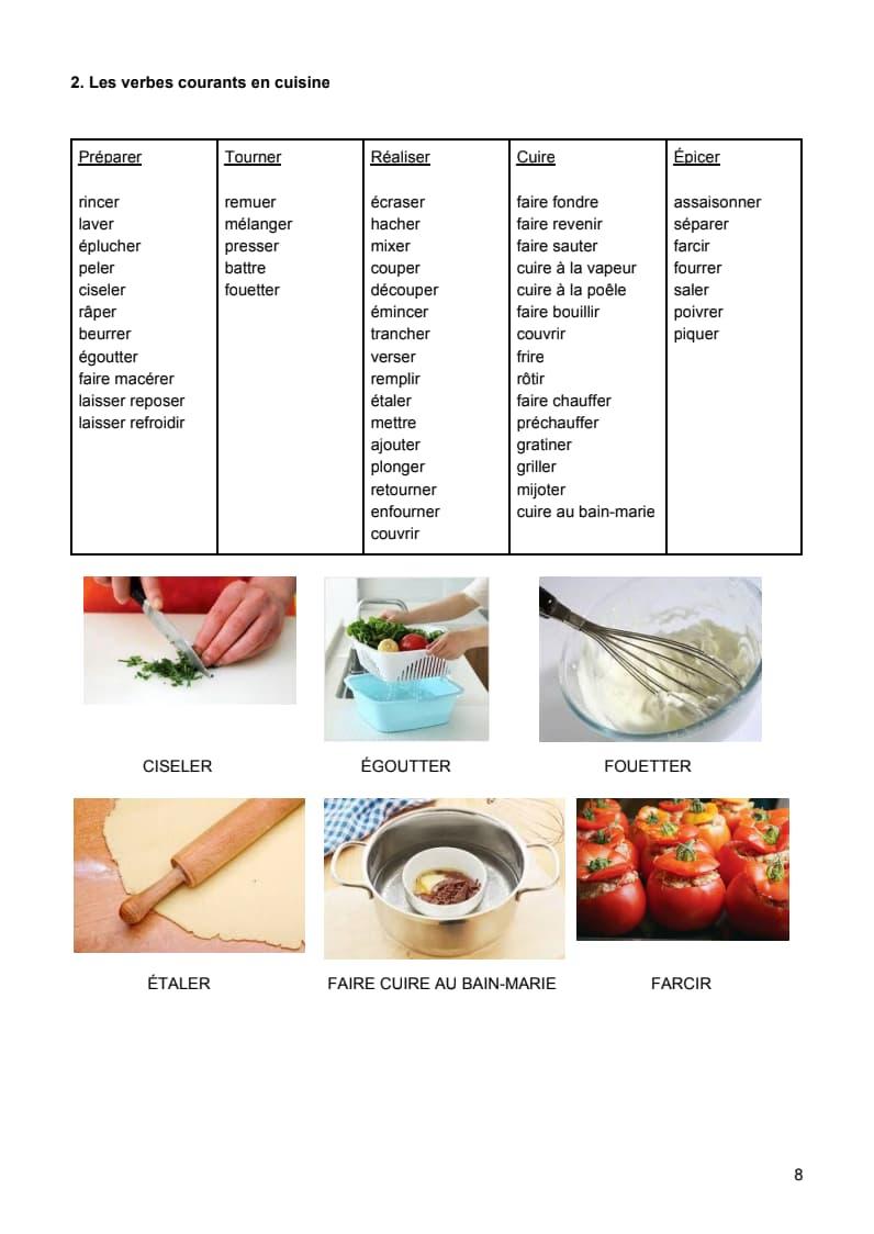 エコールサンパのフランス語教材「料理レシピのフランス語」の8ページ目